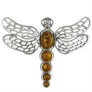 Sterling Silver Amber Dragonfly Brooch